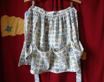 Vintage White, Blue and Green Patterned Kitchen Apron By Avon Converting