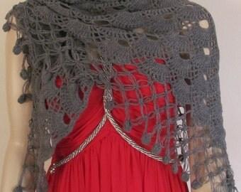 Grey Crochet Shawl, Winter Fashion Shawl, Chunky Shawl, Winter Trend, Womens Winter Shawl, 78