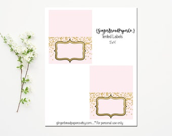 Printable Food Buffet Tent Cards. Food Labels. Pink Gold Confetti. Gold Foil. Baby Shower. Bridal Shower. Wedding Shower.