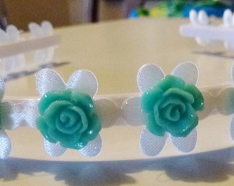 Headband with Green Flowers
