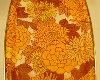 1960's/ 70's Brilliant Yellow Fibreglass Drinks Tray with Retro Floral Pattern