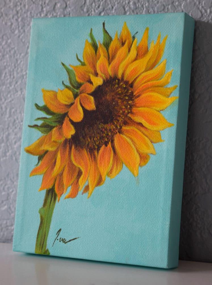 Original acrylic on canvas painting sunflower painting for How to paint a sunflower on canvas