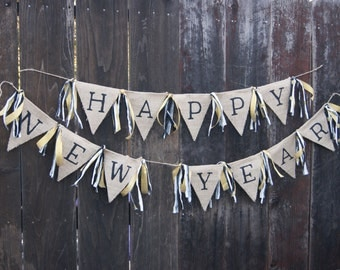 Happy New Year Burlap Banner, Holiday Banner, Rag Tie Banner, Burlap Banner, Custom Banner