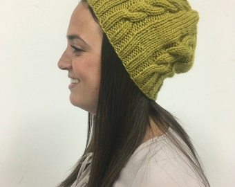 Chartreuse Knit Slouchy Hat