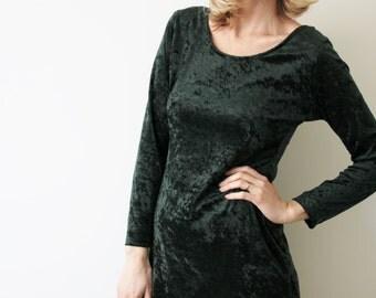 SALE Vintage Forest Green Velvet Dress