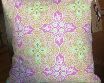 Pink floral mandala feather cushion