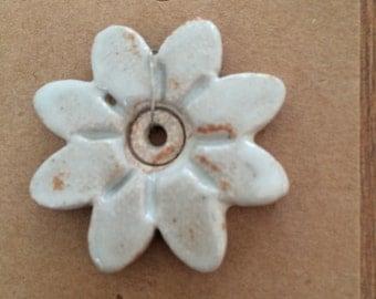 Pendant Bead Necklace, Flower, White Flower, Stoneware Ceramic Clay, #401