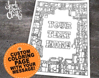 """Custom coloring page - Printable 8.5x11"""" PDF or JPEG mechanical coloring page made from your personalized message - robot steampunk sci fi"""