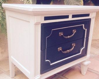 Vintage Charcoal & light gray nightstand