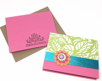Summer Stationary - Card For Her - Girly Greeting Card - Tropical Card - Mini Card - Paper Handmade Greeting Card - Mini Note Card