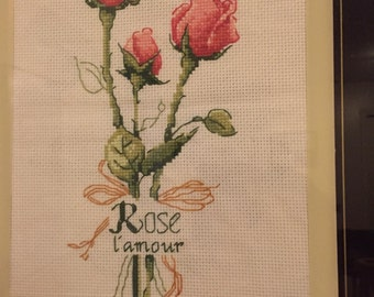 Cross stitched rose