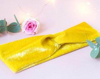 Yellow velvet turban