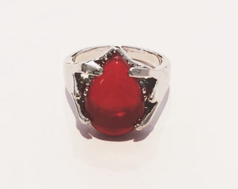 Red semiprecious ring