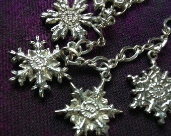 Vintage Gorham Sterling Snowflake Charm Bracelet, #143
