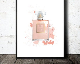Chanel coco mademoiselle parfum print printable in A4 size sheet. Lámina imprimible en A4 archivo PDF descargable