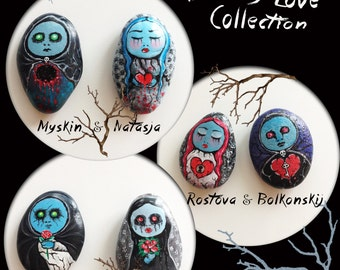 Hand Painted Pebbles Fridge Magnets (2 pieces): Bloody Love Collection