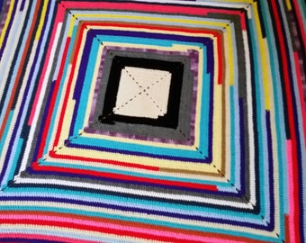 Multi colored square afghan