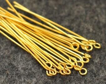 50 head pins 40 mm gold