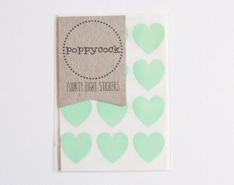 Pastel Green / Mint Green Mini Heart Stickers Pk48
