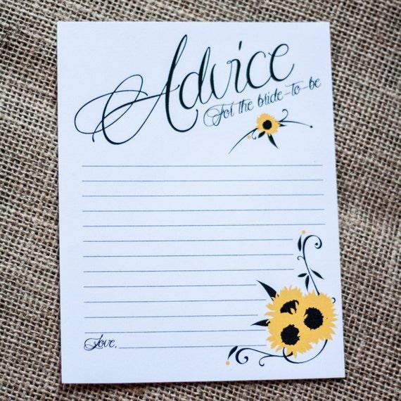 bridal shower wedding advice cards