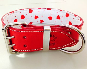Red Leather Dog Collar with White & Red Hearts Inner Lining