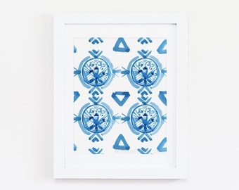 "8 x 10 ""Blue Ikat Four"" Watercolor Art Print - Indigo, Cobalt, Bohemian, Boho"