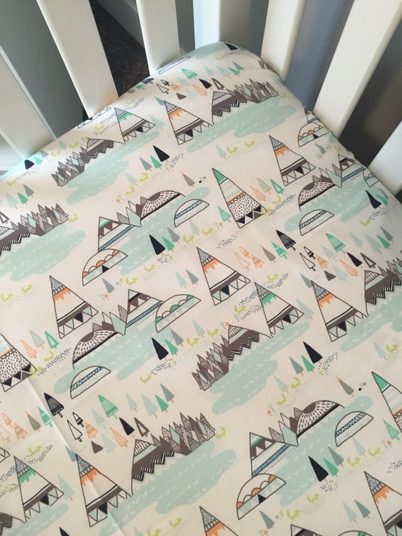 Tribal Crib Sheet Native American Inspired Nursery Teepee