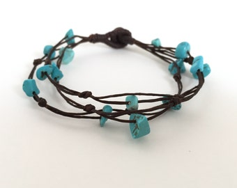 Turquoise stones bracelet, Gemstone Turquoise bracelet, Turquoise jewelry, Beaded bracelet, Waxed cotton cord bracelet, Friendship bracelet,