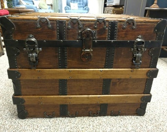 Trunk 121 Refurbished Antique Trunk with Beautiful Hardware