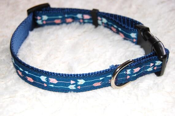 On Point Dog Arrow Collar Modern Pink Blue 3/4 inch width heavy duty navy nautical Girl Boy