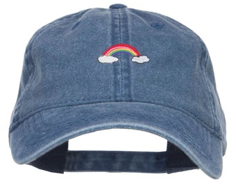 Mini Rainbow Embroidered Washed Cap