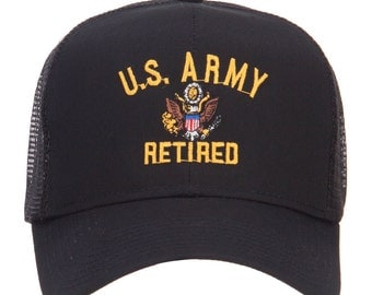 US Army Retired Embroidered Mesh Cap