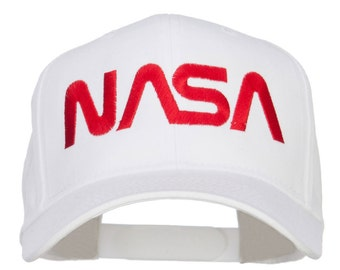 White NASA Logo Embroidered Low Cap by e4Hats on Etsy