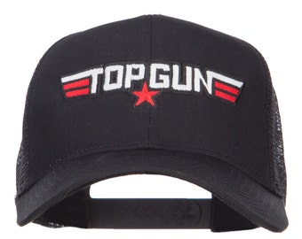 White Red Top Gun Embroidered Mesh Cap