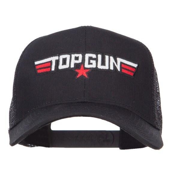 Cap Gun Top : White red top gun embroidered mesh cap