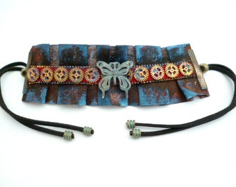 Blue Butterfly Steampunk Bracelet_BB055803_Steampunk Accessories_Gift Ideas