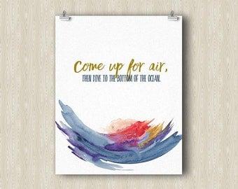 Air and Ocean Yoga Poster. Yoga art print. Yoga gifts. Yoga studio decor. Yoga print. Inspirational meditation art. Zen Office art.