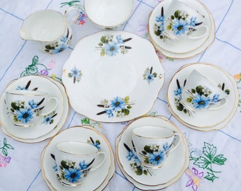 Beautiful Baby Blue Flower 1960s Duchess Vintage Teaset, Perfect for a Vintage Wedding