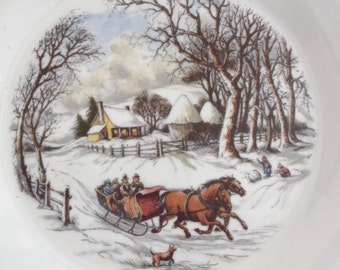 Beautiful Vintage Plate Decorated with Delightful Christmas Wintry Scene