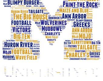 University of Michigan- U of M Wolverines Word Art: DIGITAL JPG FILE