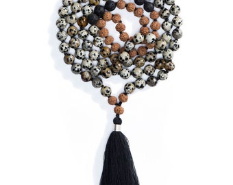 INNER PLAYGROUND MALA/ Mala Beads/Dalmatian Jasper Crystal Beads/Yoga Jewelry/Prayer Beads/Rudraksha/Meditation Necklace/Mala 108 Beads