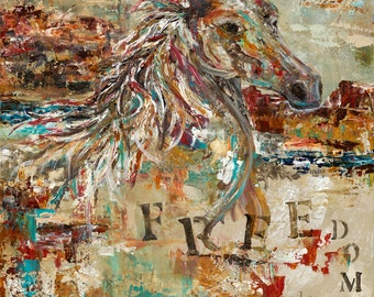 horse art abstract canvas giclee