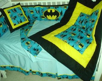 Batman Custom Made 10pc (or made bumperless) nursery baby crib bedding set made with blue Batman fabric NEW