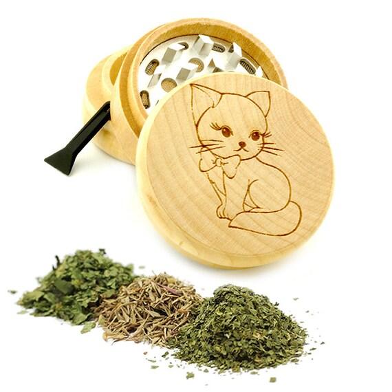 Cute Cat Engraved Premium Natural Wooden Grinder Item # PW61716-39