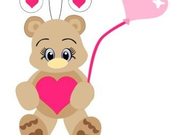 Valentine Teddy Bear SVG Instant Download!!!!