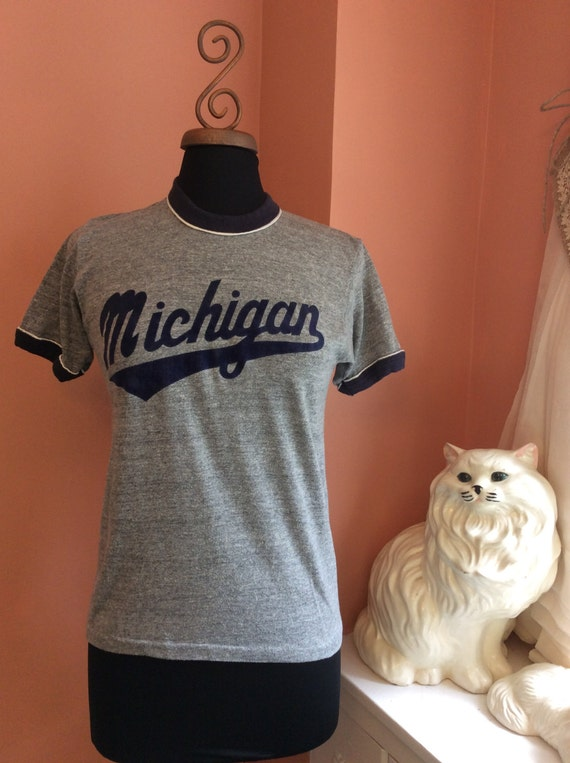 70s Ringer, Michigan, Flocked Lettering, Heather Grey, Navy, White (B091)