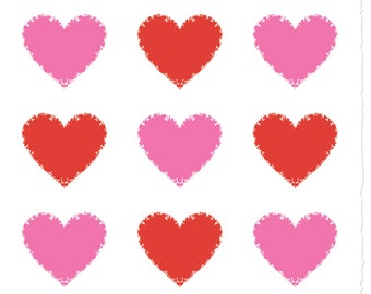 Hearts Pink and Red GREETING CARD - FH10