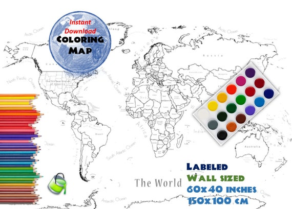 Giant coloring world map labeled 60x40 inch and 150x100 cm giant coloring world map labeled 60x40 inch and 150x100 cm coloring map black white map blank map labed countries and oceans from sciox Image collections