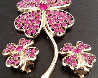 Vintage Jeweled Flower Brooch with clip Earring