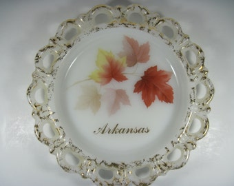 Arkansas Vintage Milk Glass Dish Maple Leaves and Gold Trim